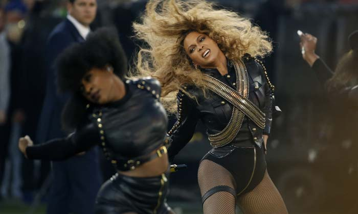 Beyonce performs during halftime of the NFL Super Bowl 50 football game Sunday, Feb. 7, 2016, in Santa Clara, Calif.  (AP Photo/Matt Slocum)  ORG XMIT: NFL